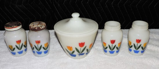 (4) Pieces of Fire king Tulip Glassware