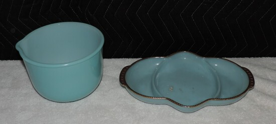 (2) Piece Lot of turquoise kitchenware