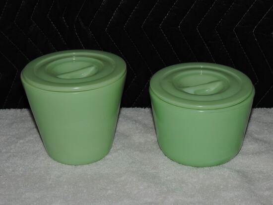 (2) Jadeite McKee Covered Bowls