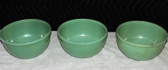 (3) Jadeite Fire king Serving Bowls