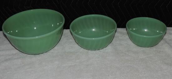 (3) Piece Fire king Jadeite Swirl  Bowl Set