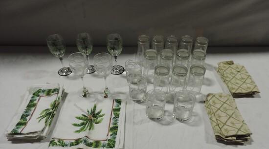 Tray Lot Palm Tree Glassware & Linens
