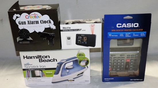 Hamilton Beach Iron, Gun Shape Clock Radio, Weather Station Radio & Casio Calculator