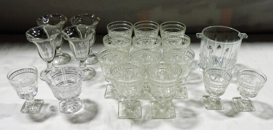 Box lot Pressed Glass Wines & Ice Cream Parfait Glasses