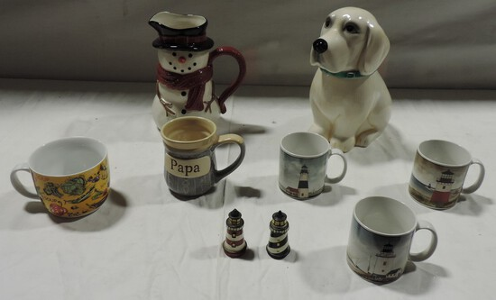 Ceramic Dog Cookie Jar, Coffee & Soup Mugs & Ceramic Pitcher