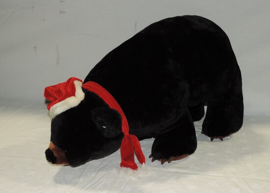 Large Stuffed Christmas Black Bear