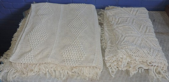(2) Antique Crochet/Hand Knitted Bed Spreads
