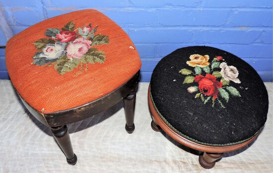 (2) Needle Point Footstools