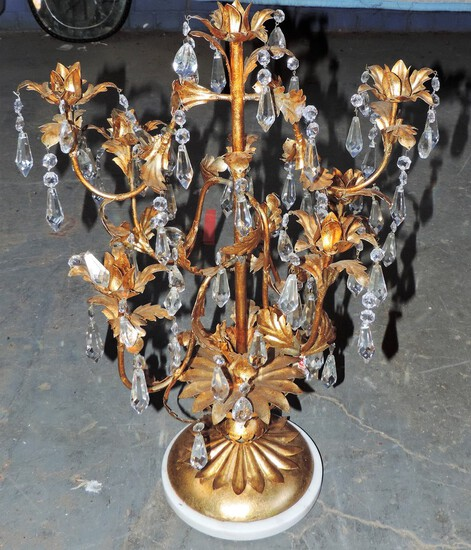 Mid Century Italian Gold Gilded Center Piece with Marble Base