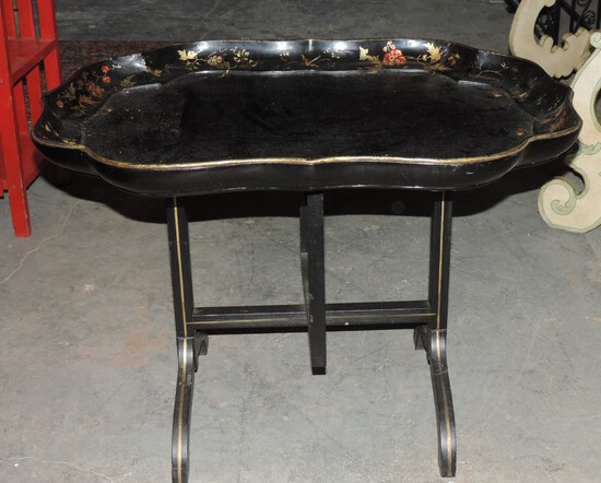 Antique Oriental Lacquer Tray Table on Stand