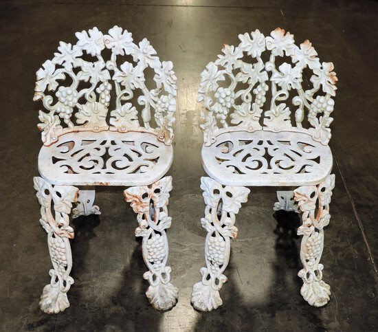 Pair Of Cast Iron Grape Design Patio Chairs