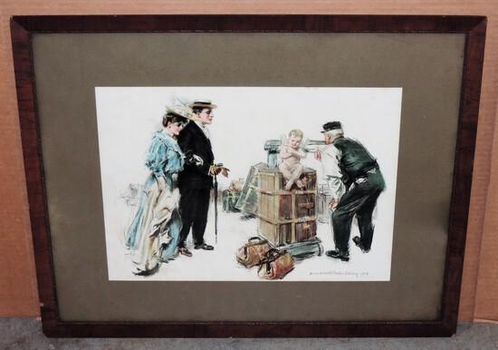 """Antique Howard Chandler Christy """"Express Baggage"""" 1905 In Wood Frame"""