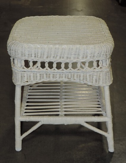 Vintage White Wicker Stand