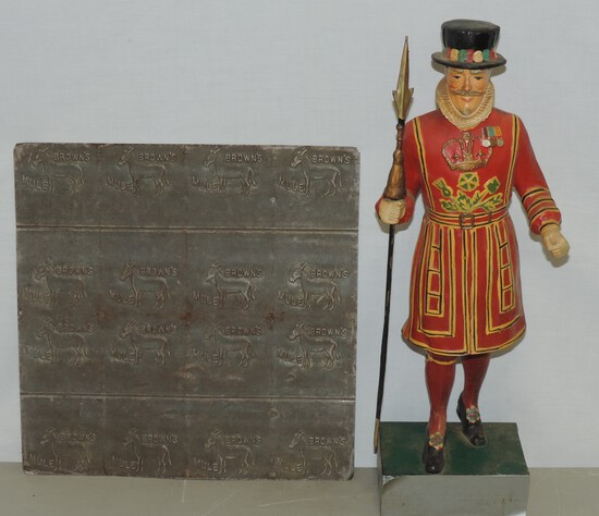 A Beefeater Store Display Figure And Brown's Mule Plug Tobacco Mold