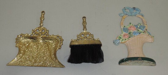 Antique Painted Cast Iron Door Stop & Ornate Brass Crumb Tray & Broom