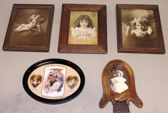 Tray Lot Cupid Photo Prints In Frames, Oak Framed Singer Sewing Ad & Others