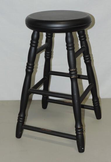 Black Painted Wood Stool