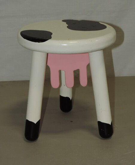 Painted Wood Cow Design Foot Stool