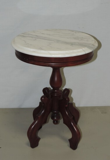 Small Mahogany Finish Marble Top Victorian Style Table