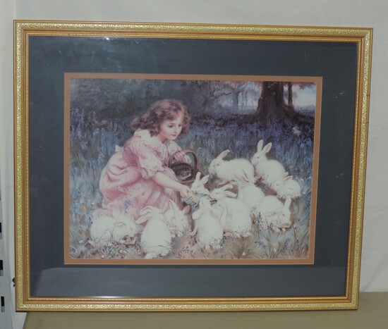 Gold Framed Victorian Style Color Print Of Child Feeding Rabbits