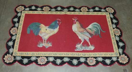 Vintage Hooked Rug Featuring Roosters