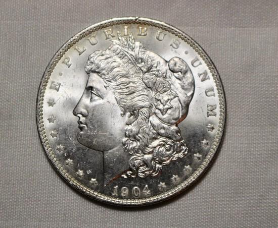 1904 O Uncirculated Morgan Silver Dollar