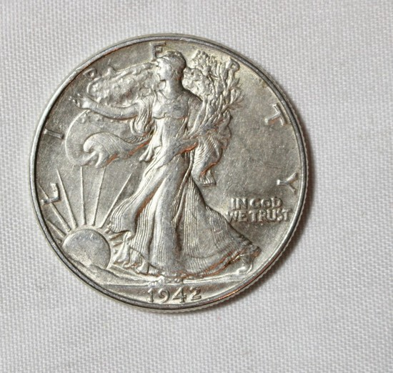 1942 AU+ Walking Liberty Half Dollar