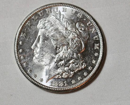 1881 S Uncirculated Morgan Silver Dollar