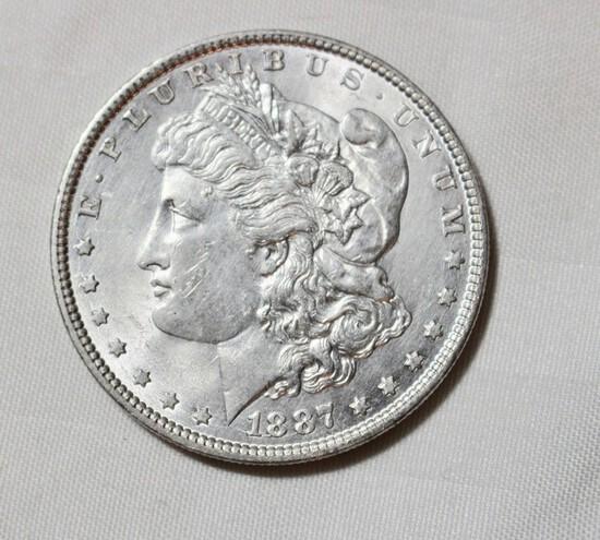 1887 Uncirculated Morgan Silver Dollar