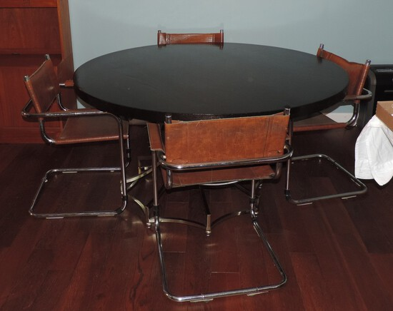 Wonderful Modern Chrome Base Modern Table and (4) Strap Leather and Chrome Chairs