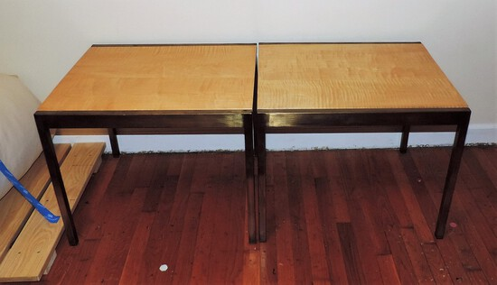 Vintage Pair of Brass and Maple Tables