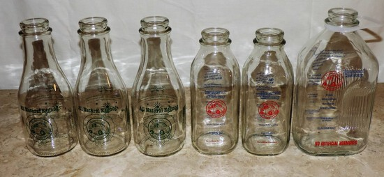 Lot of (6)  Milk Bottles