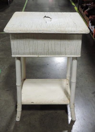 Antique White Rattan & Bamboo Sewing Stand