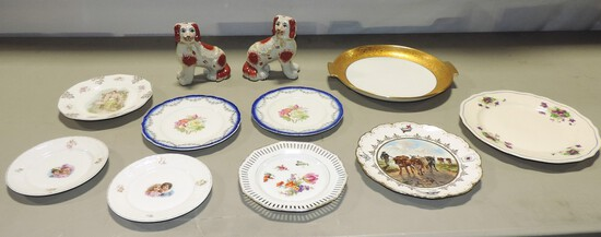 Tray Lot Victorian Porcelain Plates & Vintage Staffordshire Dogs