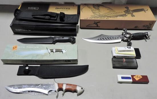Ka-Bar Survival Knife, Box Of Barracuda Knife Blades And Others