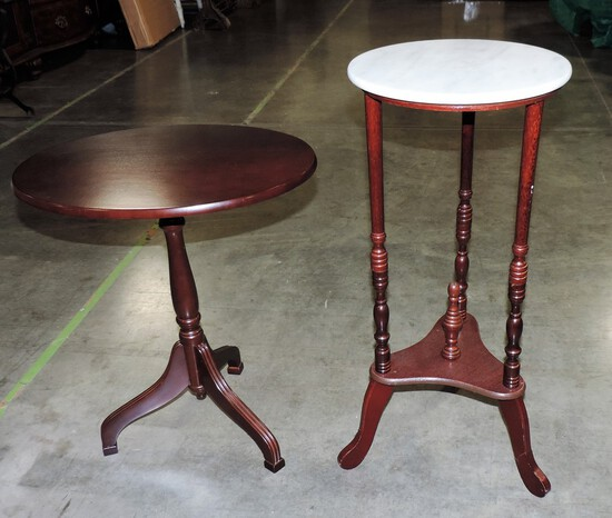 Mahogany Tilt Top Table & Marble Top Stand
