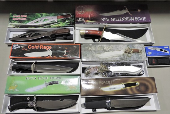 Box Lot Of New In Boxes Hunting & Survival Knives