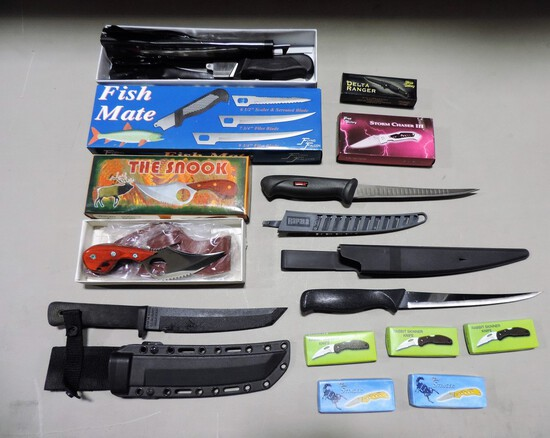 Box Lot Of New In Boxes Fishing & Hunting Knives