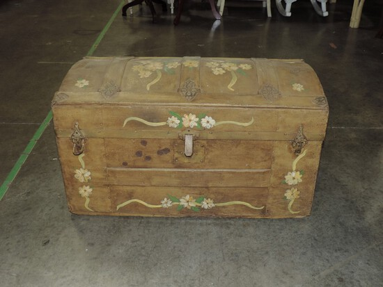 Antique Painted Dome Top Trunk