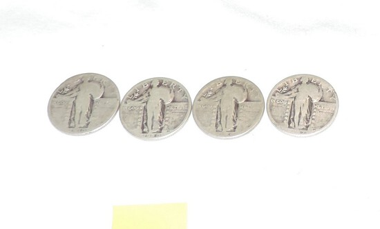 Lot of (4) Walking Liberty Silver Quarters