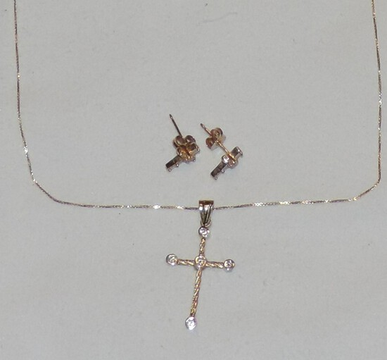 14Kt. Gold Chain, Cross, and Earring Set