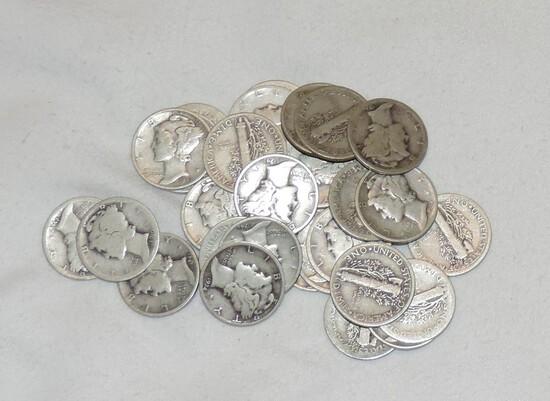 Lot of (32) Silver Mercury Dimes