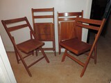 (4) Antique Wood Folding Chairs