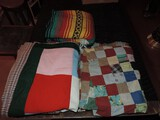 Lot of Vintage Quilts and Mexican Blanket