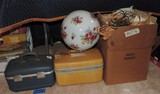 Lot of (2) Vintage Small Suitcases and Hanging Lamp