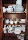 Contents of Antique Oak China Cabinet