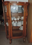 Antique Oak China Bow front Cabinet