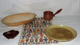Wooden Dough Bowl Pottery Plate and More