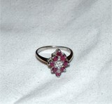 14kt Gold Ruby and Diamond Chip Ring