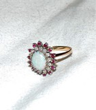 14kt Gold Opal, Ruby and Diamond Chip Cocktail Ring